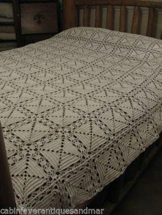 Vintage White 3D Geometric Fillet Crochet Twin Full Queen Bedspread 87x77 | eBay