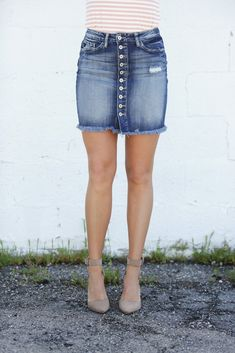 407aed7e9 11 Best Button down denim skirt images in 2016 | Jean skirts ...