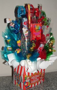 CARNIVAL Candy Bouquet Centerpiece w/ Edible Party by CandyFlorist, $34.95