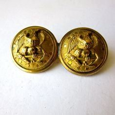 Military Buttons  Brooch  Gold  2 buttons  by stateandmainvintage