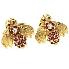 TIFFANY & Co. Diamond and Ruby Bee Earrings