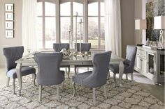 Coralayne - Silver Finish 5 Piece Dining Room Set D650D1 by Ashley Furniture in Portland, Lake Oswego, OR