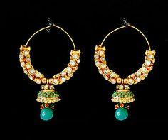 Indian Polki Jewelry Emerald Bollywood Ethnic Kundan Traditional Earrings Set X | eBay