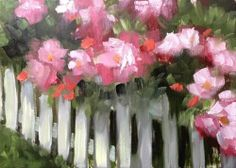 """""""Roses and Picket Fence"""" by Elaine Juska Joseph"""