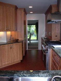 Dark Hardwood Kitchen Floor