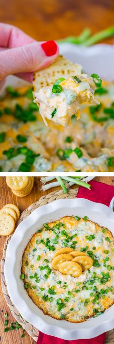 Cheesy Buffalo Chicken Dip from The Food Charlatan // This dip is easy and blue-cheesy. Perfect appetizer for the Super Bowl!