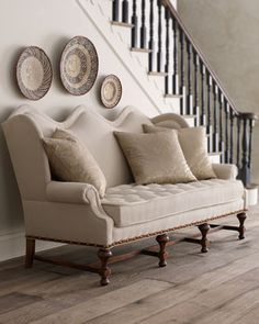 example of what we could put in the nook where the clock is to add extra seating while entertaining