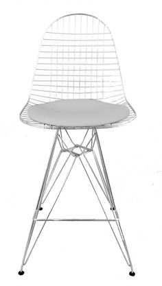 The Eames wire stool is a variation of the organically shaped one-piece seat shell, boasting a light transparency and high technicality. For the design of the Wire Chair (1951) Charles and Ray Eames used the shape of the famous fibreglass chair. With their innovative use of humble steel wire, the Eames created an original and groundbreaking design. The use of wire makes the chair transparent, producing the impression of a three-dimensional metallic drawing.NB: This item is not an original