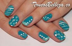 another pinner wrote: i would never have the patience for this but it looks cool Teal Nails, Fancy Nails, Love Nails, Trendy Nails, How To Do Nails, My Nails, Green Nails, Manicure E Pedicure, Gel Manicures