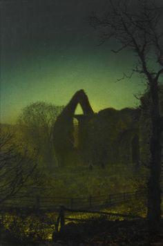 John Atkinson Grimshaw - Bolton Abbey by Moonlight Urban Landscape, Landscape Art, Landscape Paintings, Landscapes, Nocturne, Atkinson Grimshaw, Bolton Abbey, Moonlight Painting, Portrait Pictures