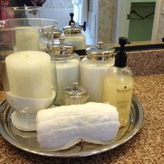 love these little elegant touches for the bathroom Bathroom Kids, Bathroom Renos, Bathroom Interior, Small Bathroom, Washroom, Bathroom Styling, Bathroom Organization, Sweet Home, Apothecary Bathroom
