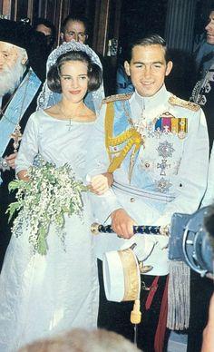Royal Wedding of King Constantine II of Greece and Princess Anne-Marie Dagmar Ingrid of Denmark Denmark Royal Family, Greek Royal Family, Danish Royal Family, Princesa Real, Princesa Mary, Royal Brides, Royal Weddings, Famous Wedding Dresses, Greek Royalty