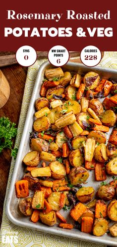 Healthy Delicious Syn Free Rosemary Roasted Potatoes, Parsnips, Carrots and Onion the perfect addition to any main meal. Roasted Vegetable Recipes, Roasted Vegetables, Veggie Recipes, Vegetarian Recipes, Healthy Recipes, Vegetarian Roast Dinner, Vegetable Bake, Veggie Food, Vegetable Dishes