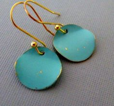 Turquoise Earrings Gold Dangling Coin by pinkingedgedesigns, $14.00