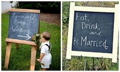 Eat, Drink and be Married... love it :)  Large picture frame on a easel by the bar area at reception