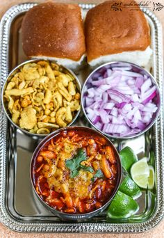 "Misal pav (spicy curry with bread – ""pav"") is a traditional Indian dish. It consists. Lemon Recipes, Veg Recipes, Indian Food Recipes, Vegetarian Recipes, Cooking Recipes, Recipies, Indian Fast Food, Cooking Tips, Easy Recipes"