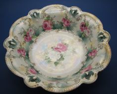 RS Prussia Bowl with Jeweled Scalloped Edge.
