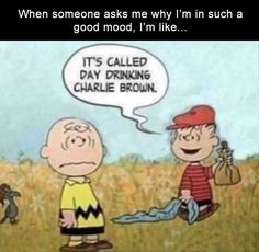 funny cartoon funny peanuts cartoon when someone asks why I'm in such a good mood its called day drinking charlie brown Drinking Memes, Day Drinking, Funny Texts, Funny Jokes, Drunk Humor, Drunk Quotes, It's Funny, Humour Quotes, Humor Humour