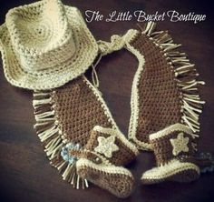 Crochet For Babies Crochet Cowboy Outfit Pattern Free Video Tutorial - If you are on the hunt for a Crochet Cowboy Outfit Pattern, we have you covered. You'll love the Crochet Cowboy Hat, Crochet Cowboy Boots and more. Cowboy Baby Clothes, Baby Cowboy Boots, Cowboy Outfits, Baby Boots, Crochet Baby Clothes, Newborn Crochet, Crochet Outfits, Crochet For Boys, Free Crochet