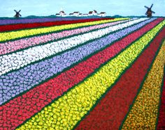 TULIP FIELDS painting by Frederic Kohli. High quality Giclee prints available at http://frederic-kohli.artistwebsites.com.