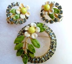 Vintage  Hobe Rhinestone & Enamel Flower Brooch & Clip Earrings #Hobe