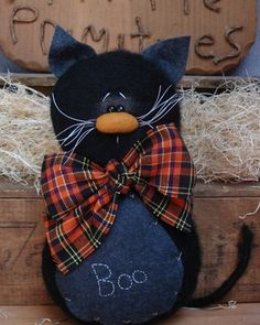 Primitive Halloween Black Cat Doll