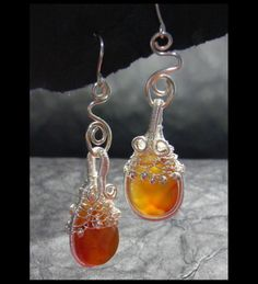 jewelry earrings wire wrapped .. Carnelian Teardrop and Silver Wireworked earrings $19.50