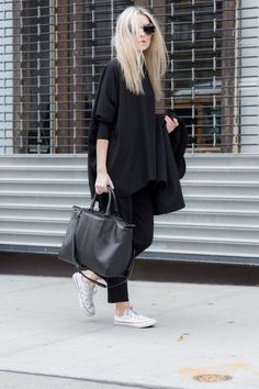 figtny.com   outfit • 81 All black everything + White Converse