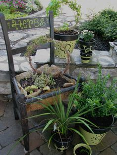 Painted  pots w/potted chair -