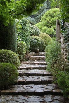 stone, boxwood and mossy greens