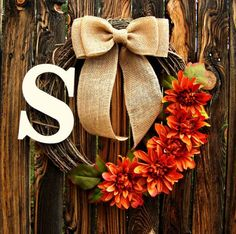 Autumn Orange Flower Wreath with Monogram - Initial Wreath - Grapevine Wreath - Fall Wreath - Personalized Wreath - Thanksgiving Wreath on Etsy, $43.00: