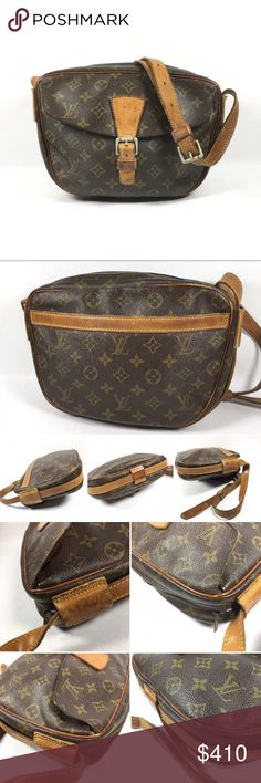 Authentic Louis Vuitton Jeune Fille Crossbody Bag No lowballing no trade  Made in France   Item from 80s, no date code  Ok condition, visible signs of wear Monogram canvas shows rub marks & light fading of color, white scuffs on front pocket. Leather trims show rubbing, darkening, scratches & stains. Heavy patina & rubbing on piping. Shoulder strap shows stains, darkening, rubbing, green marks, creases & wear at sizing holes. Hardware shows tarnishing & some green patina Interior shows…