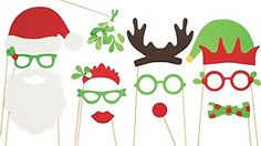 Christmas Photo Props Kit is perfect for any party or family get together. Photo booth anyone? Santa And Reindeer, Christmas Snowman, Christmas Holidays, Christmas Crafts, Christmas Decorations, Reindeer Antlers, Christmas Hanukkah, Christmas Minis, Christmas Door