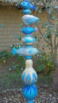 Garden Totem - Foxlo Pottery - Fox & Lois Garney - Cambria, California