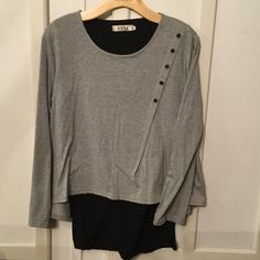 Grey/black tunic XL Grey and black two piece tunic. Size says XL but fits like large. Never worn. Tops