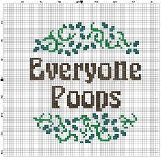 Everyone Poops Modern Cross Stitch Pattern by SnarkyArtCompany
