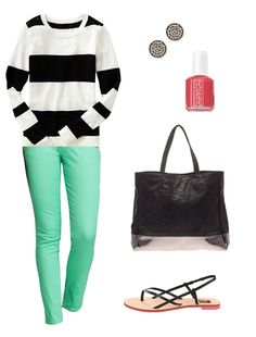 I like the mint green pants. But I love how they make stripes and polka dots pop!