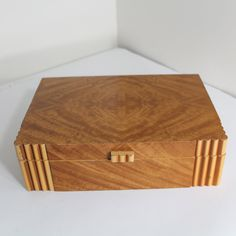 Vintage Art Deco Dresser Box in Blonde Wood.