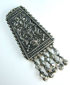 Intricate Indian Ethnic Antique Beaten Silver Effect Earrings Smokey Grey Swarovski Crystal
