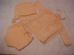 Free Knitting Pattern - Preemie Clothes: Sweater Bonnet & Diaper Cover