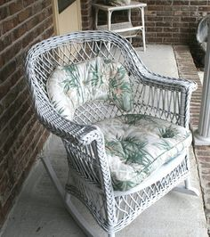 Vintage Wicker Rocking Chair, Vintage Rocker, Vintage Wicker, White Wicker, For…
