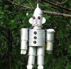 15. Raid the recycling bin and make a robot   17 Charming Garden Art DIYs