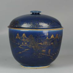 ca 1700 Kangxi Powder Blue Gilded Jar Chinese Porcelain Very nice blue ground large lidded jar. Very rare to find.