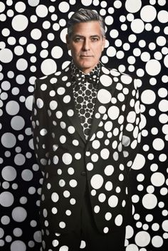 Artist Yayoi Kusama covers Clooney in dots for W Magazine. December, 2013.
