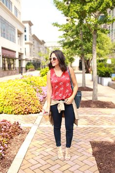 My Style Vita - A Fashion and Lifestyle Blog. Red printed top+navy jeans+nude lace up heeled sandals+blue bucket bag+nude light jacket+sunglasses. Summer outfit 2016