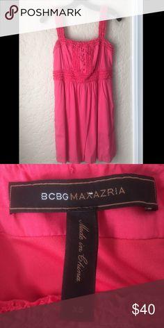 BCBG Pink Dress BCBG pink dress. Worn but in excellent condition. It has pockets! BCBG Dresses