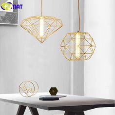 FUMAT Pendant Lights Restaurant Bar Cafe Lamp Gold Metal Light Fixture Modern LED Pendant lamp Diamond Pendant Light #Affiliate