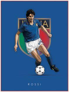 Paolo Rossi of Italy wallpaper. Fifa Football, Football Themes, Best Football Players, Retro Football, Football Art, Sport Football, Soccer Players, Italy National Football Team, Legends Football