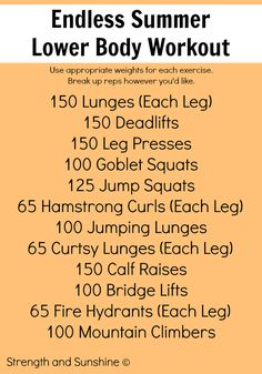 Endless Summer Lower Body Workout | Strength and Sunshine
