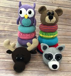 Ravelry: Ring Stacker Toy - Woodland Animals pattern by Mary Smith Kawaii Crochet, Crochet Dolls, Crochet Baby, Crocheted Toys, Crochet Stitches Patterns, Stitch Patterns, Amigurumi Patterns, Crochet Rings, Made By Mary